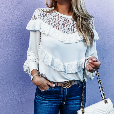 Fashion Sexy Lace Solid Color Long Sleeve Top