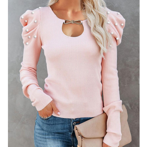 Solid Color Long Sleeve Puff Sleeve Shirt Top