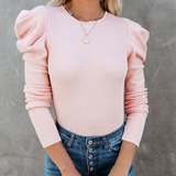 Solid Color Long Sleeve Women'S Puff Sleeve Pit Strip Top