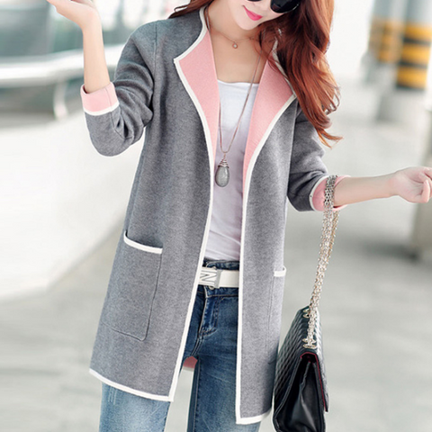 Plus Size Women'S Knitted Long-Sleeved Cardigan Jacket