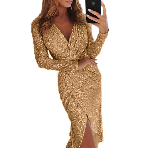 Sexy Sequined Long Sleeved V-Neck Dress