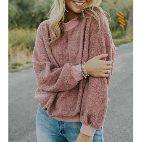 Sexy Round Neck Long Sleeve Loose Long Sleeve Top