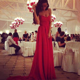 DESIGN SLEEVELESS CHIFFON RED DRESS