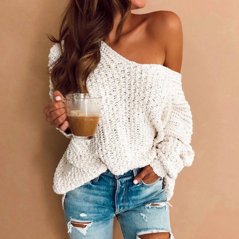 Women'S Long Sleeve Knitted Sweater
