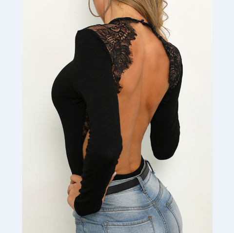 Sexy Lace Splicing Open Back Long Sleeve Bodysuit T-Shirt