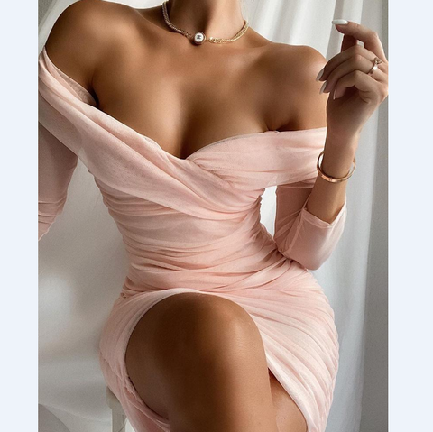 Sexy Off Shoulder Mesh Ruched Bodycon Dress