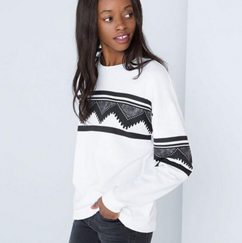 Loose long-sleeved printing sweater