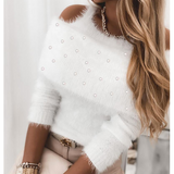 Solid Color Women'S Long Sleeve White Beaded Sweater