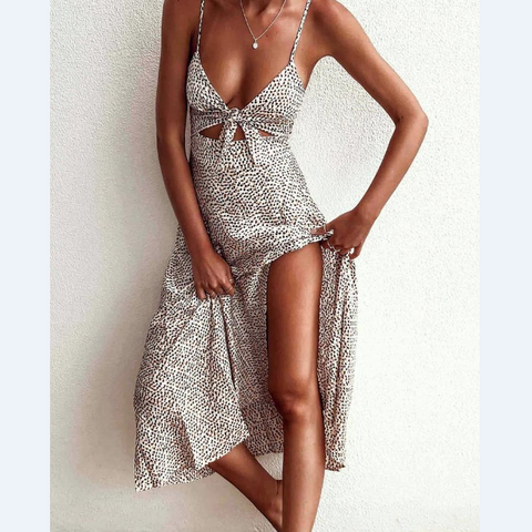 Sling Printing Sexy Backless Butterfly Chest Dress