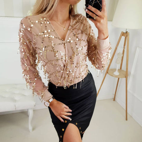 Chiffon Long Sleeve Solid Color Sequin Top