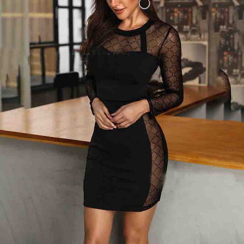 Solid Color Stitching Long Sleeve Dress
