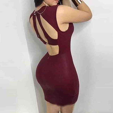 Design Sleeveless Backless Bag Hip Dress