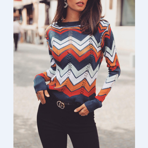 Knitted Round Neck Striped Rainbow Sweater