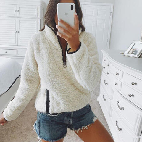 Long Sleeve Zipper Pocket Sweater