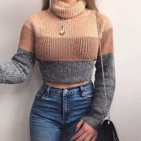 Long Sleeve Striped Knitted Turtleneck Sweater