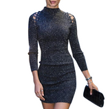 Women'S High-Necked Sexy Long-Sleeved Dress