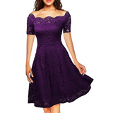 Short-Sleeved Lace Strapless Princess Dress
