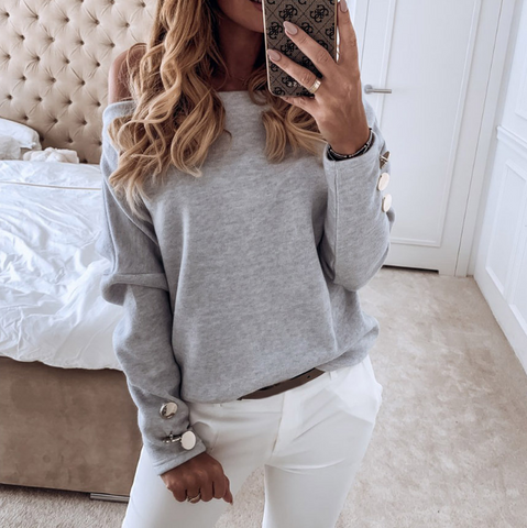 Sexy Fashion Solid Color Long Sleeve Sweater