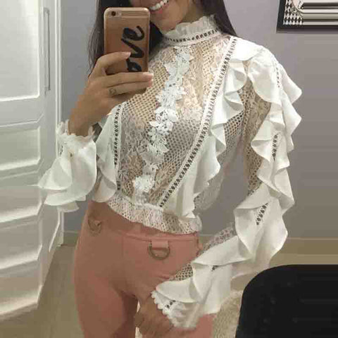 Flounced Lace High-Necked White Blouse