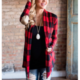 Fashion Plaid Cardigan Long Sleeve Jacket