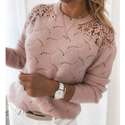 Pink Long Sleeve Lace Sweater