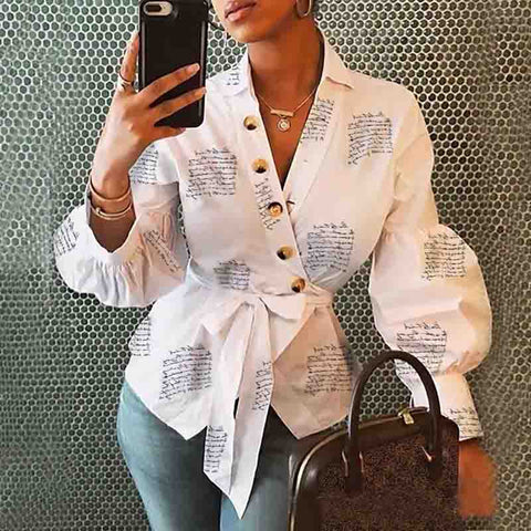 Casual Letter Printed White Long Sleeve Top