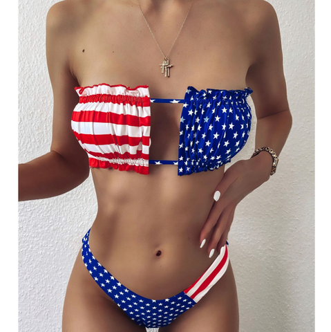 Printed Flag Bikini Swimsuit Set