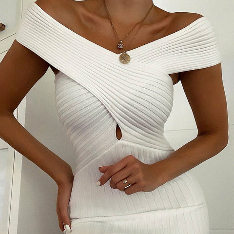 Sexy V-neck Slim Sleeveless Hip Dress