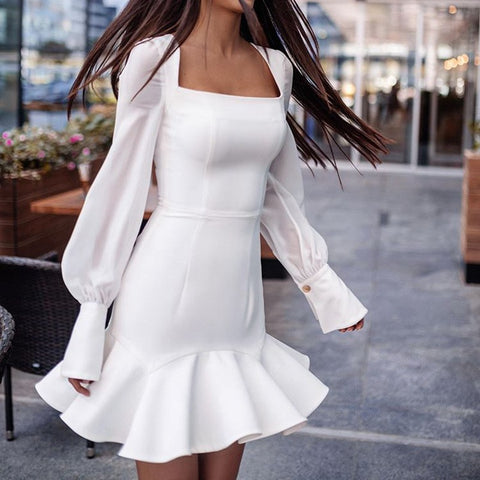 Solid Color Sexy Long Sleeve Stitching Fishtail Dress