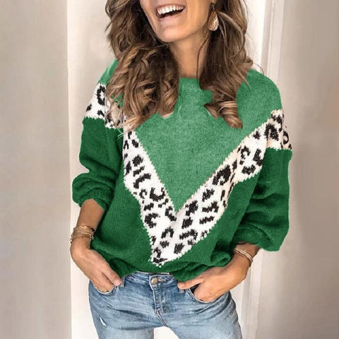 Printed Mosaic Leopard Long-Sleeved Knit Sweater