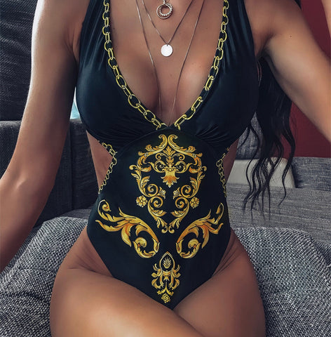 Sexy Bikini Print One-Piece Swimsuit