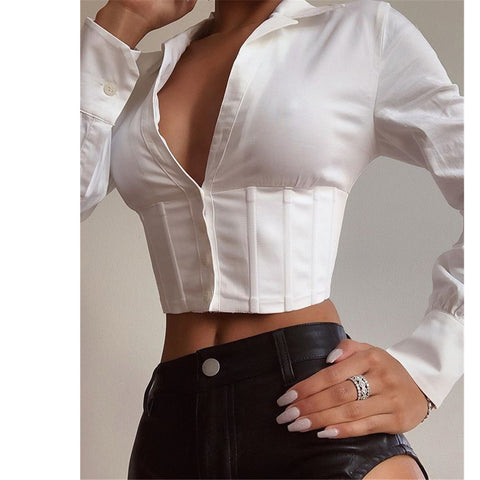 V-Neck Sexy Long-Sleeved Button Slim Top