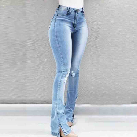 Design High Waist Hole Jeans
