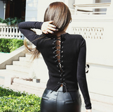 2018 Women'S Solid Color Sexy Backless Long Sleeve T-Shirt