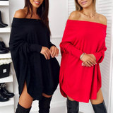 Loose Sexy Solid Color Long Sleeve Dress