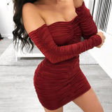 Women'S One-Shoulder Long-Sleeved Sexy Dress