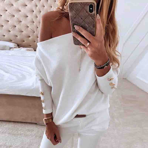 Casual One Shoulder Blouse Top