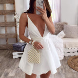Sexy Sling Solid Color High Waist Sleeveless Dress