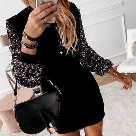 Sequin Long Sleeve Splicing Dress