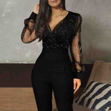 V-Neck Women's Long Sleeve Jumpsuit