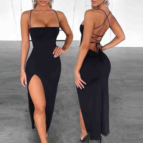 Fashion Sexy Spaghetti Strap Bandage Slit Dress