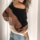 Casual Long-Sleeved Knitted Round Neck Striped Sweater