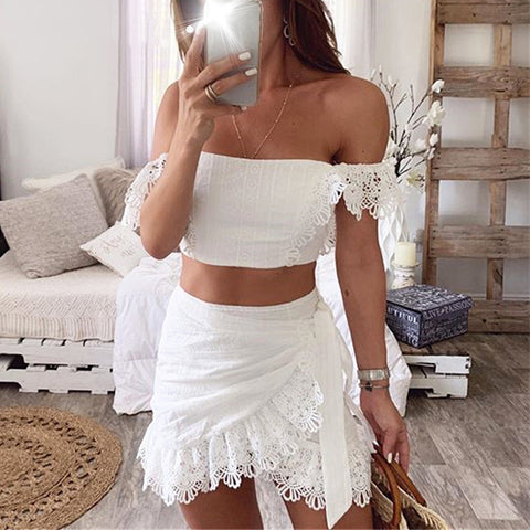 Solid Color Lace Strapless Two-Piece Set