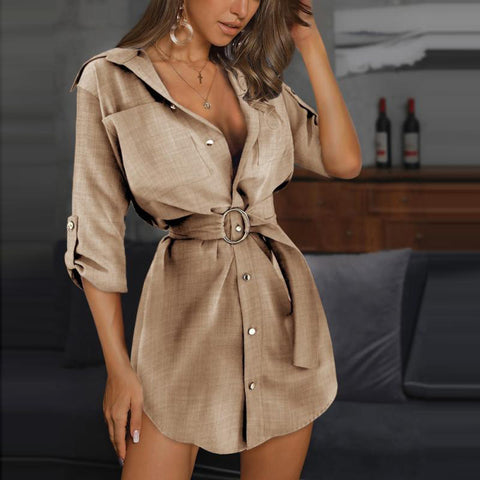 Casual Cardigan Solid Color Long Sleeve Dress