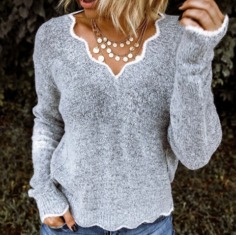 Cute V-Neck Long Sleeve Knitted Sweaters