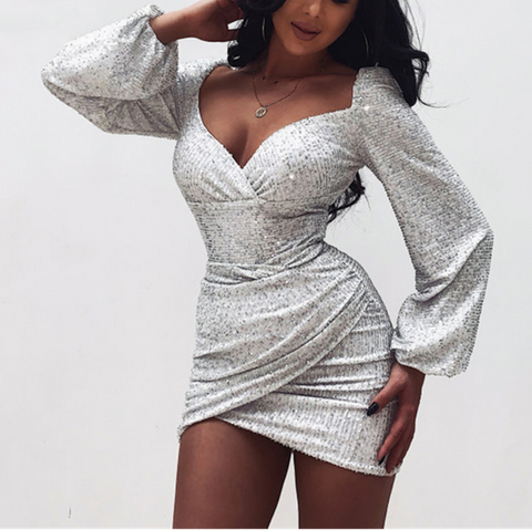 Irregular Sequined V-Neck Wrap Chest And Hip Dress