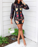 Printed Long Sleeve V-neck Printed Sexy Casual Dress