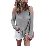 Sexy Round Neck Off-Shoulder Knit Sweater