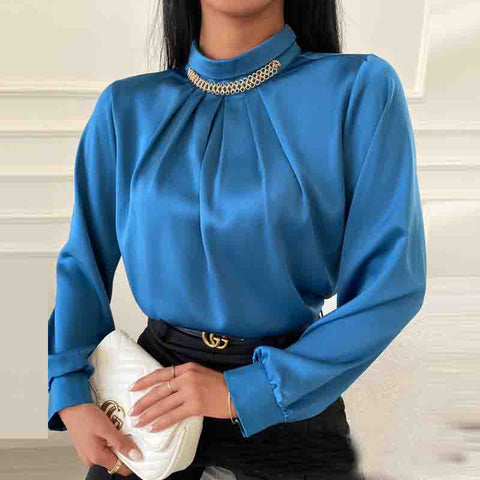 Round Neck Solid Color Long Sleeve Slim Shirt
