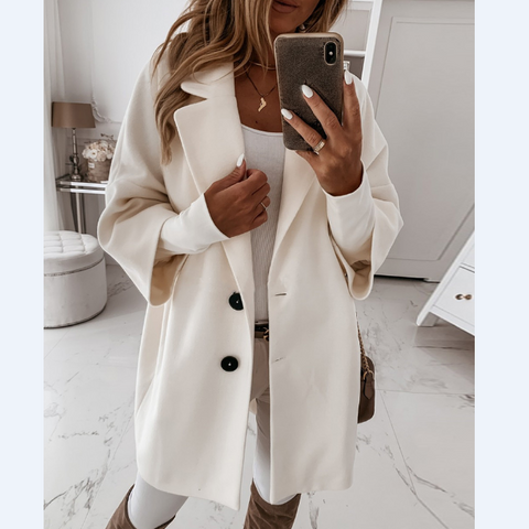 Long Sleeve Women Loose Button Pocket Coat